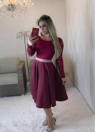 Vestido midi marsala  - moda evangélica
