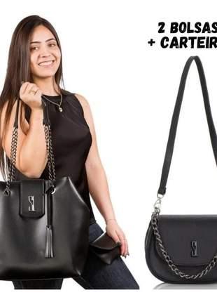 Bolsinha feminina pequena alça transversal + bolsa grande