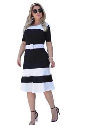 Vestido moda evangélica listrado não acompanhar cinto