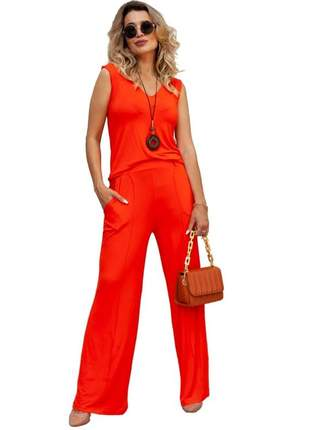 Conjunto calça pantalona com blusa regata decote v malha viscolycra comfy style verão