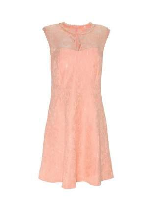 Vestido infinity fashion curto renda salmão