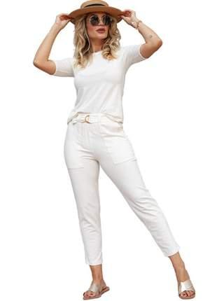 Conjunto calça skinny pespontada e blusa manga ciclista em viscolycra e moletinho