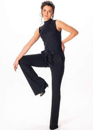 Elegante conjunto calça flare moletinho + blusa gola garrafinha viscolycra verão 2022