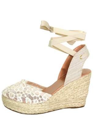 Sandália infinity shoes anabela crú