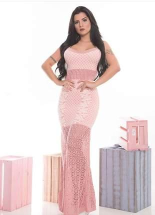 Vestido longo feminino rosa sereia crochê