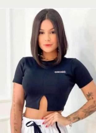 Top cropped blusa feminina moda blogueira canelado