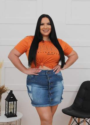 Saia jeans plus dolce sedutti size azul marinho 562.1