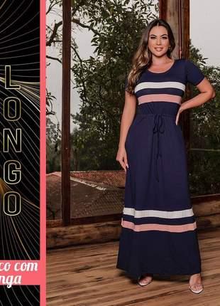 Vestido náutico longo manguinha