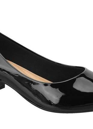 Sapato bico fino verniz preto beira rio 4182.100