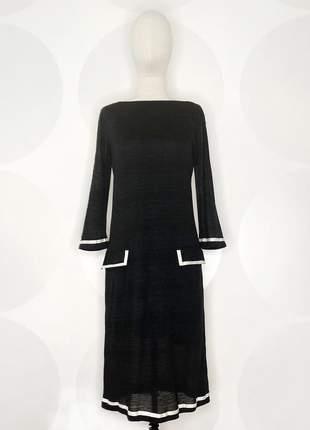 Vestido de malha com mangas 3/4 preto