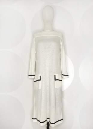 Vestido de malha com mangas 3/4 offwhite