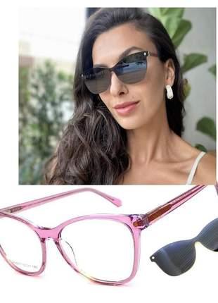 Armação óculos grau premium clip on solar original