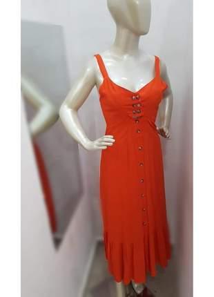 Vestido longo feminino viscolinho laranja