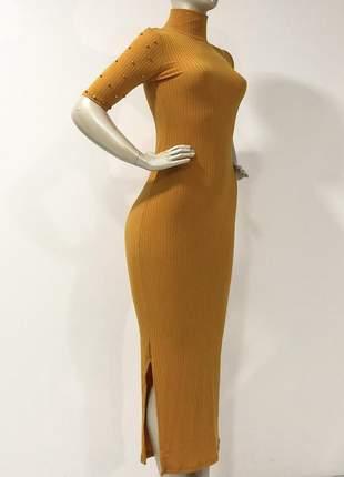 Vestido longo canelado feminino