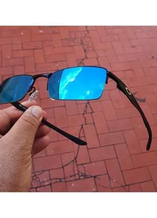 Óculos oakley vilão + acessórios oakley preto com lentes azul
