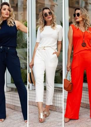 Elegante conjunto pantalona + blusa regata em visoclycra coleção verão 2022 novidade