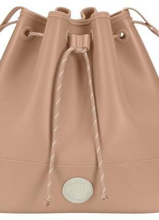 Bolsa saco média feminina moleca nude pvc 5001122242