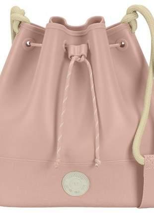 Bolsa saco média feminina cordão moleca rosa claro estilosa alça grossa 5001122752