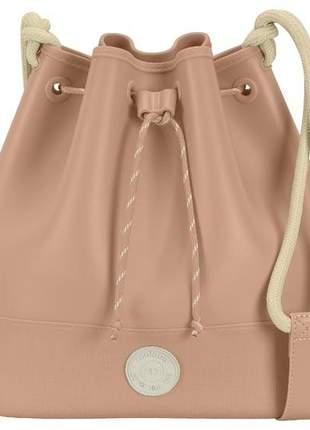 Bolsa saco média feminina cordão moleca nude transversal tira colo   5001122752n