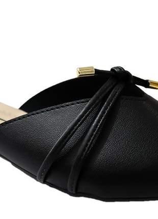 Mule feminino preto moleca bico fino conforto leve moda 5444315p