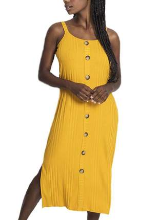 Vestido midi canelado com botões rovitex amarelo