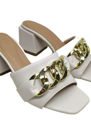 Tamanco feminino tira salto bloco médio 6 cm sandália fashion 34 a 40 bico quadrado