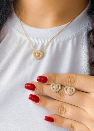 Conjunto colar e brinco coração cravejado zircônia anti alérgico