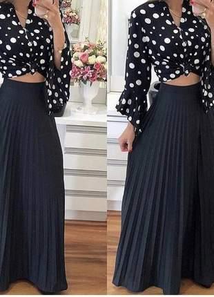 Saia longa plissada feminina cintura alta