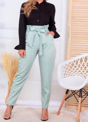 Calça social cintura alta laço feminina linho bolsos laterais