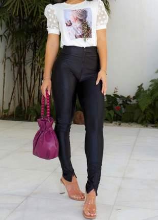 Calça legging zíper cós cirré cintura alta feminina