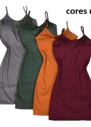 Kit 5 vestido feminino tubinho canelado preto varias cores