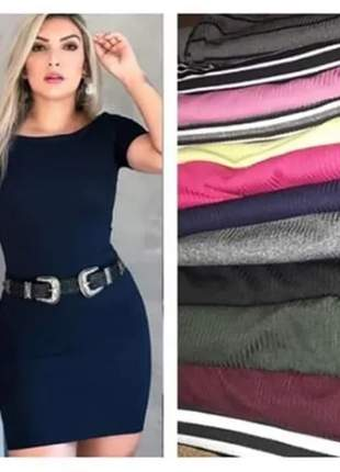 Kit 5 vestido midi curto feminino panicat tubinho canelado u