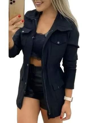 Pague 1 e leve 2 jaqueta parka feminina jaqueta casaco sobretudo
