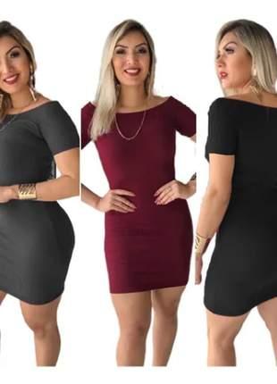 Pague 2 leve 3 vestidos feminino festa lançamento ombro a ombro