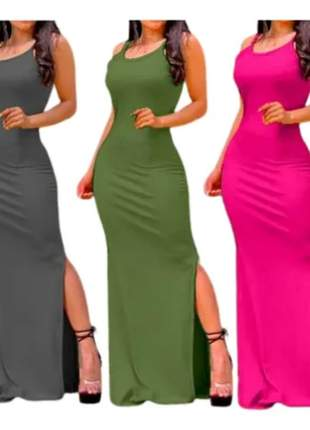 Pague 2 e leve 3 vestidos feminino longo de alcinha com fendas