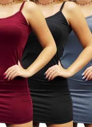 Pague 2 e leve 3 vestidos canelado curto, cores kit: preto, cinza e vinho