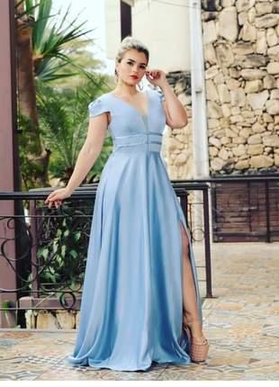 Vestido de festa azul serenity e rosê madrinha casamento batizado