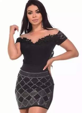 Conjunto body renda com tuli mais saía pedraria moda feminina blogueira