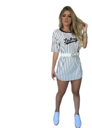 Blusão camisão los angeles feminino vestido curto listrado