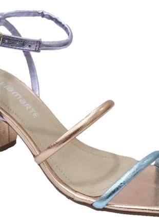Sandália salto grosso feminina colorida dourada metalizada via marte  2118302