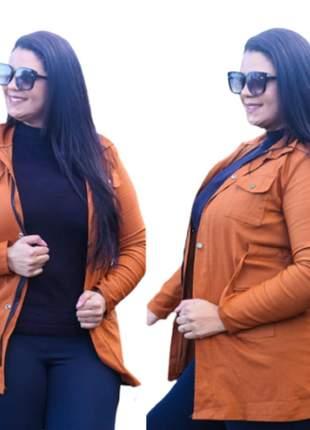 Jaqueta parka tecido bengaline plus size moda instagram
