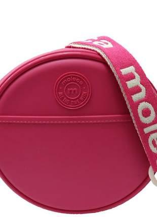 Bolsa redonda pequena com alça feminina moleca pink original 5000622242