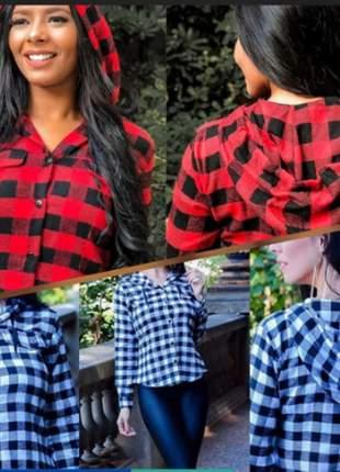 Blusa com capuz manga longa xadrez moda instagram