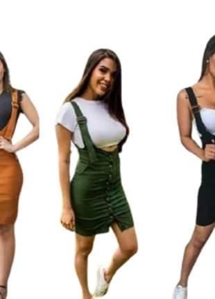 Saia salopete tecido bengaline roupas femininas moda instagram
