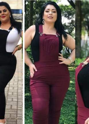 Macacão jardineira plus size roupas femininas