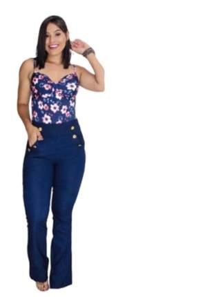 Calça flare feminina botões dourados bengaline cintura alta