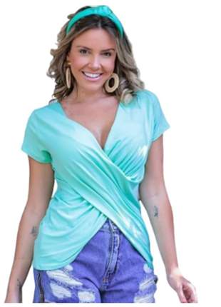 Blusas cruzada decotada transpassada manga curta