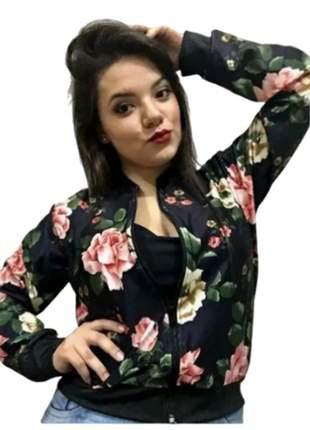 Jaqueta bomber estampada moda roupas feminina