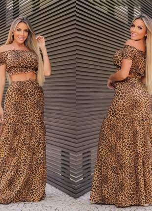 Conjunto de saia e cropped animal print ombro a ombro ciganinha