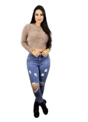 Blusa cropped peludinha roupas femininas